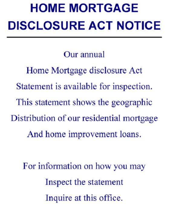 Home Mortgage Disclosure Act Notice